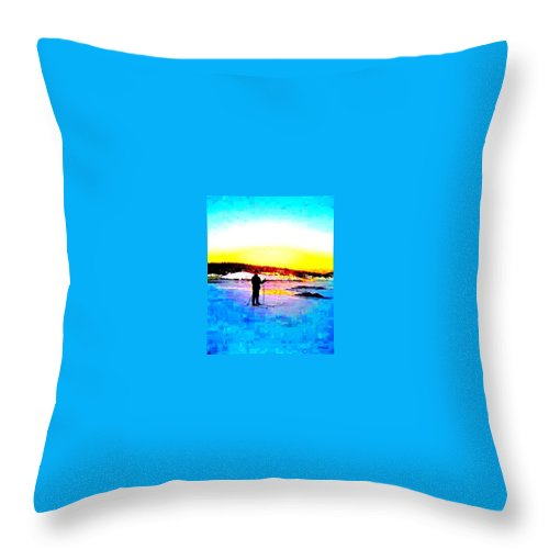 Skiing Throw Pillow featuring the photograph The Winter Light And The Snow And Ice by Hilde Widerberg