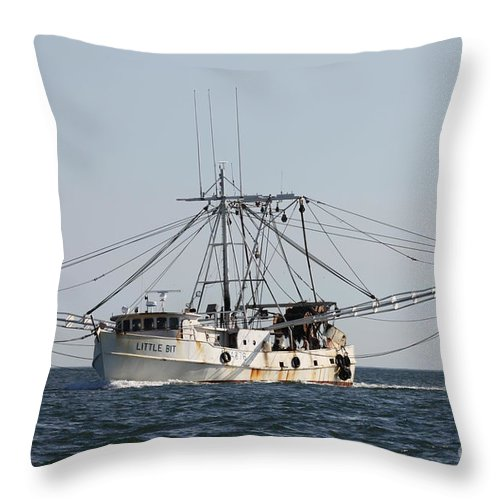 Troller To Port Throw Pillow featuring the photograph Troller To Port by John Telfer
