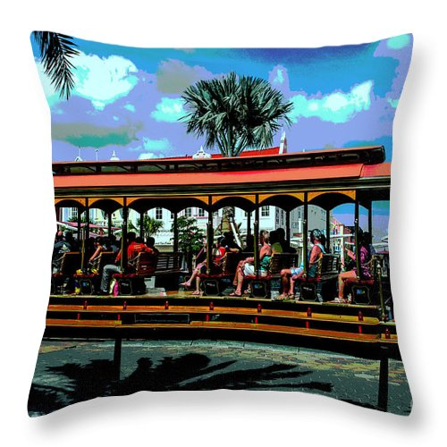 Aruba Throw Pillow featuring the photograph Trolley Stop by Judy Wolinsky