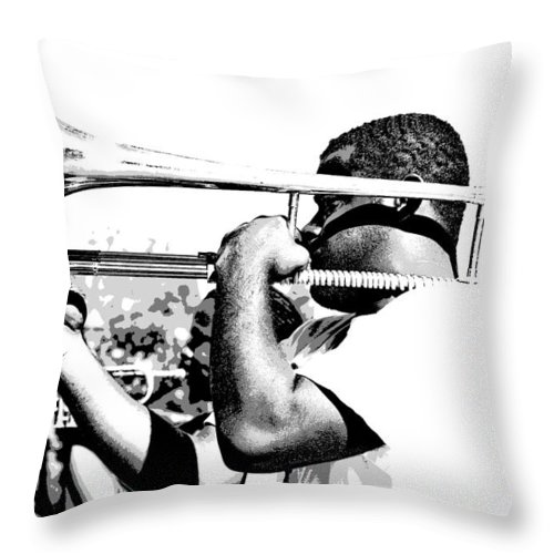French Quarter Throw Pillow featuring the photograph Trombone Man Bw by Steve Harrington
