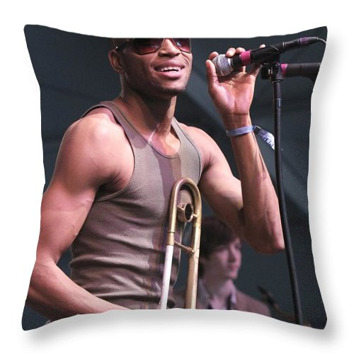 Photos For Sale Throw Pillow featuring the photograph Musician Trombone Shorty by Concert Photos