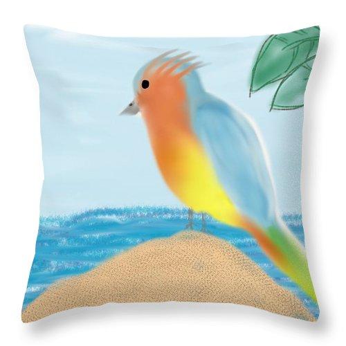 Bird Throw Pillow featuring the digital art Tropical by Barbara Marlin