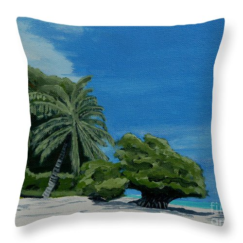 Beach Throw Pillow featuring the painting Tropical Beach by Anthony Dunphy