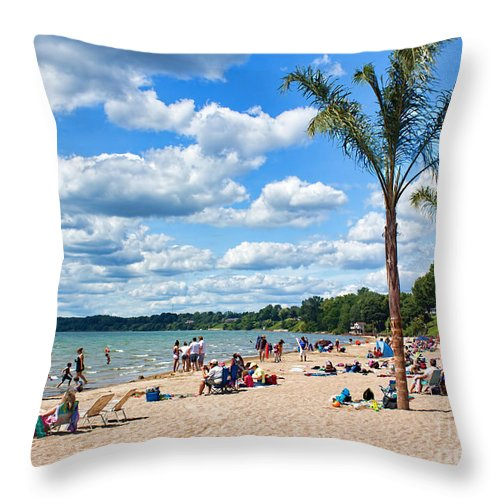 Port Dover Throw Pillow featuring the photograph Tropical Beach In Port Dover by Barbara McMahon
