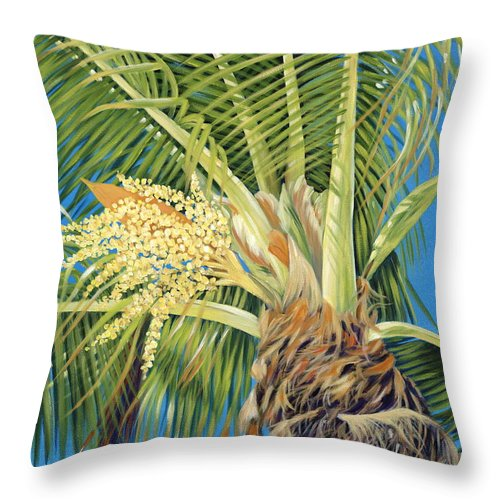 Palm Tree Throw Pillow featuring the painting Tropical Bloom by Danielle Perry