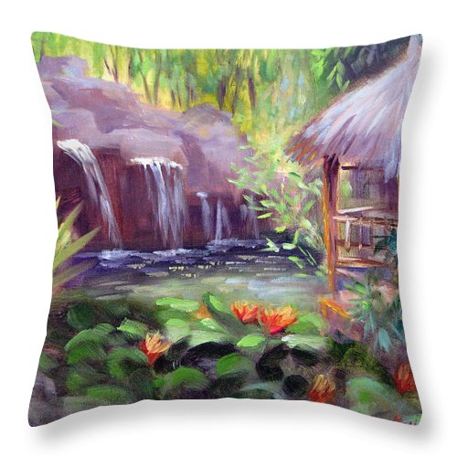 Tropical Throw Pillow featuring the painting Tropical Escape by Karin Leonard