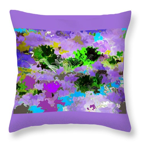 Tropical Fish Throw Pillow featuring the digital art Tropical Fish Abstraction by Christine Mulgrew