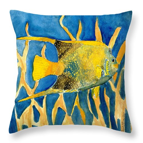 Tropical Throw Pillow featuring the painting Tropical Fish Art Print by Derek Mccrea