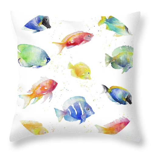 Tropical Throw Pillow featuring the painting Tropical Fish Round by Lanie Loreth