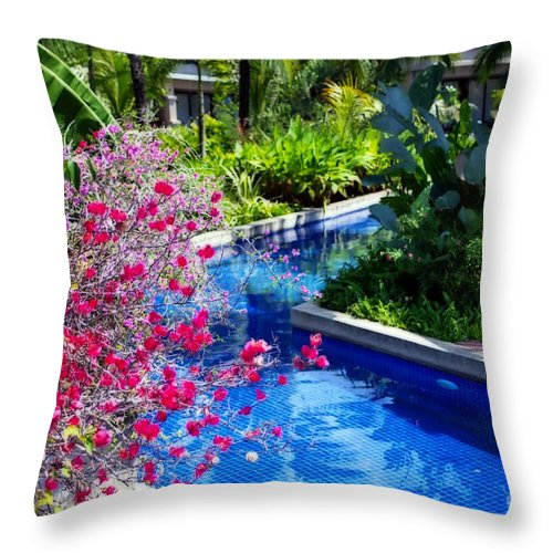 Photography Throw Pillow featuring the photograph Tropical Garden Around Pool by Kaye Menner