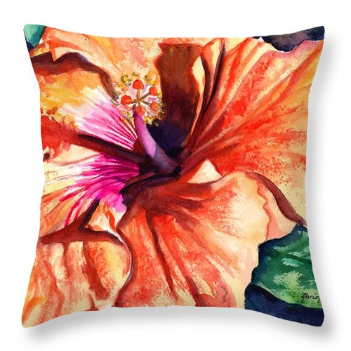 Orange Hibiscus Throw Pillow featuring the painting Tropical Hibiscus by Marionette Taboniar