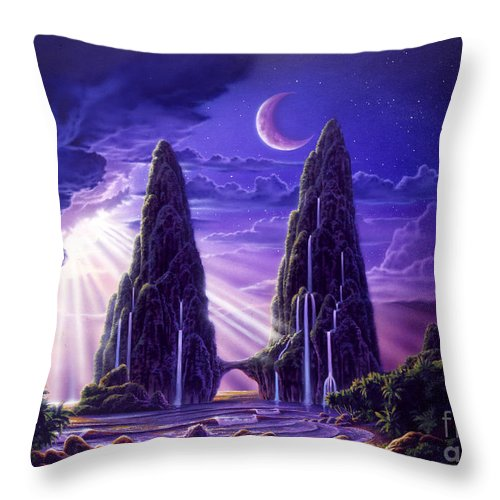 Tropical Throw Pillow featuring the digital art Tropical Hideaway by Robin Koni