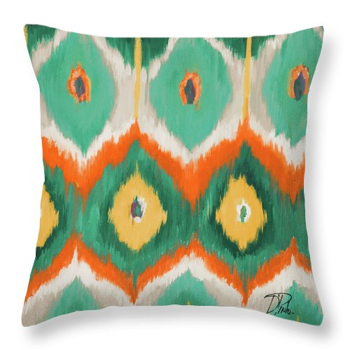 Tropical Throw Pillow featuring the painting Tropical Ikat II by Patricia Pinto