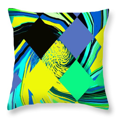 Abstract Throw Pillow featuring the digital art Tropical Impressions by Ian MacDonald