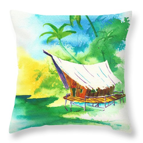 Water Throw Pillow featuring the painting Tropical Landscape 8 by Nelson Ruger