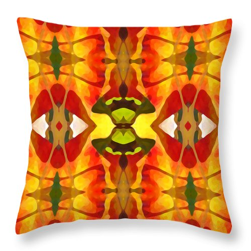 Abstract Throw Pillow featuring the painting Tropical Leaf Pattern 4 by Amy Vangsgard