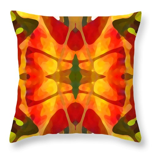 Abstract Throw Pillow featuring the painting Tropical Leaf Pattern5 by Amy Vangsgard