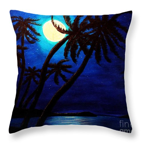 Barbara Griffin Throw Pillow featuring the painting Tropical Moon On The Islands by Barbara Griffin