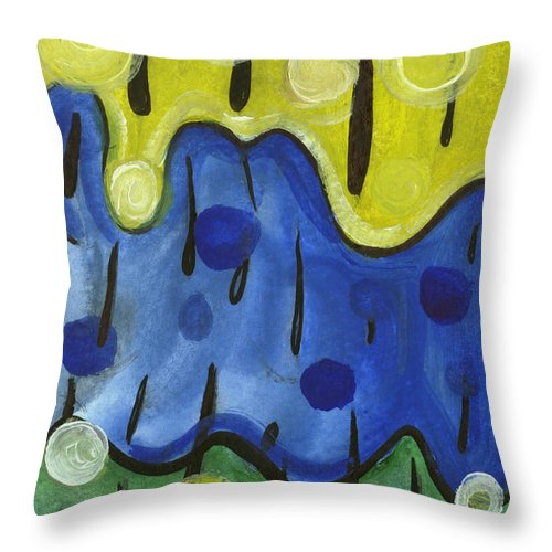 Abstract Art Throw Pillow featuring the painting Tropical Rain by Stephen Lucas