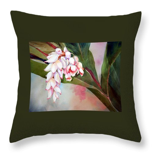 Flower Throw Pillow featuring the painting Tropical Splendor by Sue Kemp