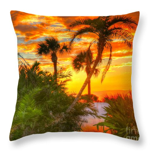 Palm Trees Throw Pillow featuring the photograph Tropical Sunset by Debbi Granruth