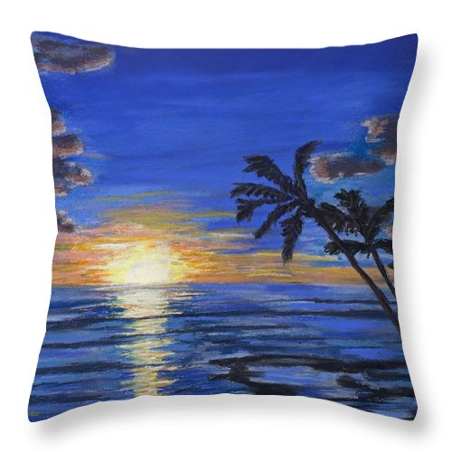 Beach Throw Pillow featuring the painting Tropical Sunset by Mary Benke