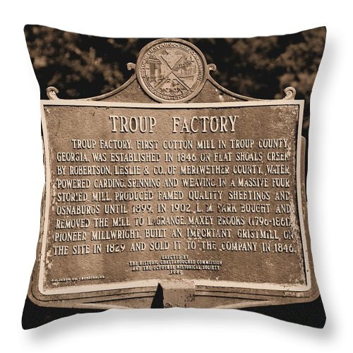 Troup Factory Throw Pillow featuring the photograph Troup Factory Historical Marker by Tara Potts