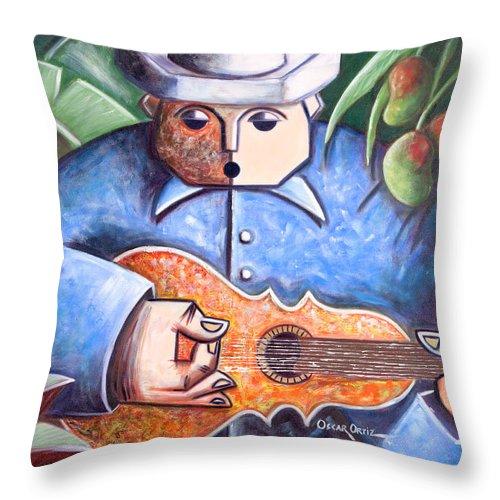 Puerto Rico Throw Pillow featuring the painting Trovador de mango bajito by Oscar Ortiz