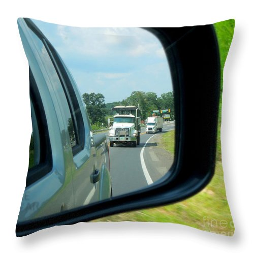 Truck Throw Pillow featuring the photograph Trucks In Rear View Mirror by Renee Trenholm