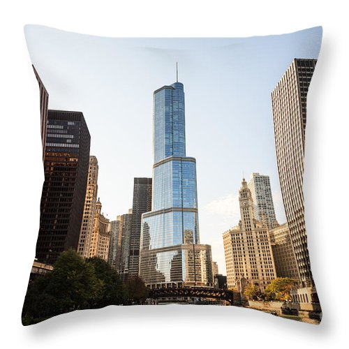 America Throw Pillow featuring the photograph Trump Tower And Downtown Chicago Buildings by Paul Velgos
