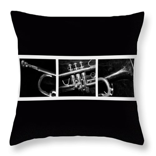 Trumpet Throw Pillow featuring the photograph Trumpet Triptych by Photographic Arts And Design Studio