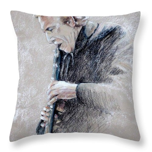 Portraits Throw Pillow featuring the painting Trumpetist Flamenco by Miki De Goodaboom