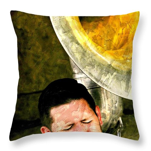 Music Throw Pillow featuring the photograph Tuba by Diana Angstadt