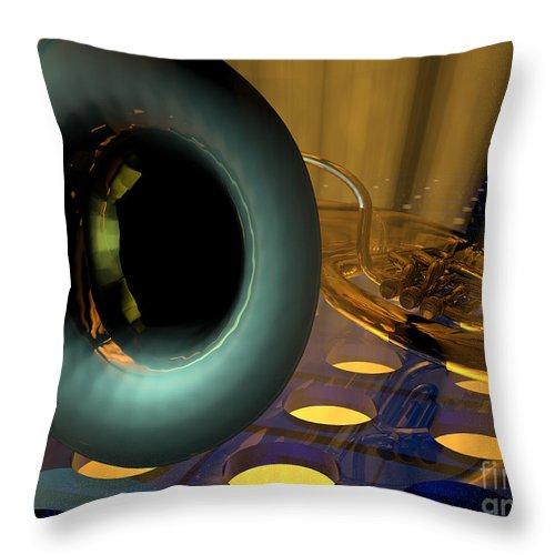 Tuba Throw Pillow featuring the digital art Tuba Goes Disco by R Muirhead Art