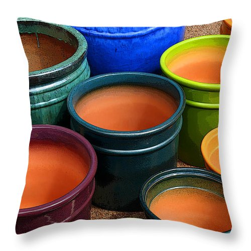 Tubac Throw Pillow featuring the photograph Tubac Pottery 2 by Joe Kozlowski
