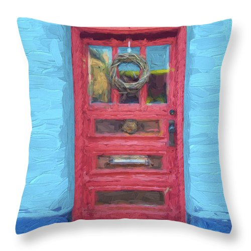 Arizona Throw Pillow featuring the mixed media Tucson Barrio Red Door Painterly Effect by Carol Leigh