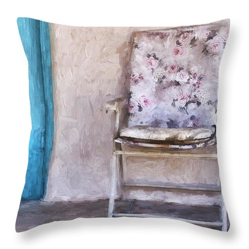 Arizona Throw Pillow featuring the photograph Tucson Front Porch Painterly Effect by Carol Leigh