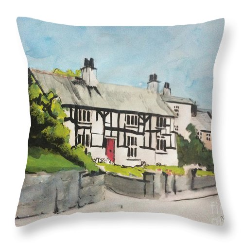 England Throw Pillow featuring the painting Tudor Cottage Cheshire England by Michelle Deyna-Hayward