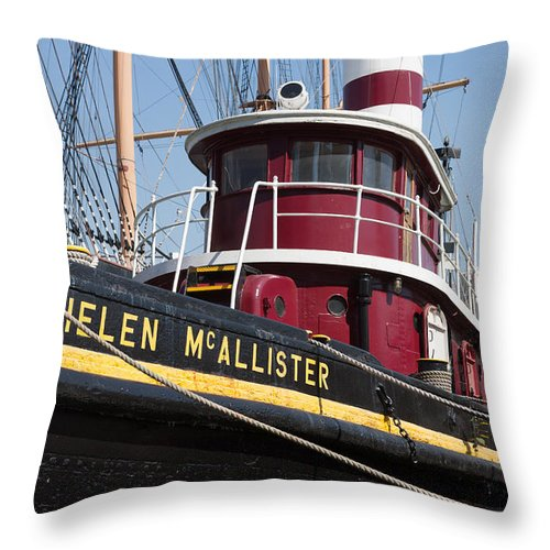 Clarence Holmes Throw Pillow featuring the photograph Tugboat Helen Mcallister by Clarence Holmes