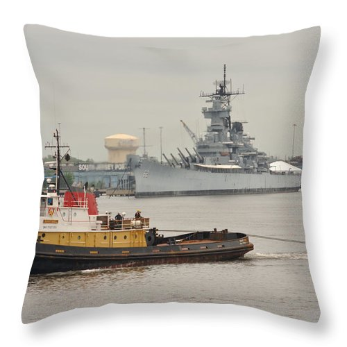 Camden Throw Pillow featuring the photograph Tugboat Towing Past The Uss New Jersey by Berry Edwards