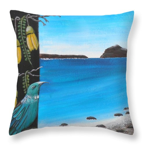 Tui Throw Pillow featuring the painting Tui Under Kowhai by Astrid Rosemergy