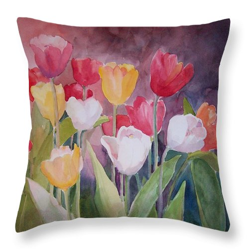 Tulips Throw Pillow featuring the painting Tulip Garden by Sue Kemp