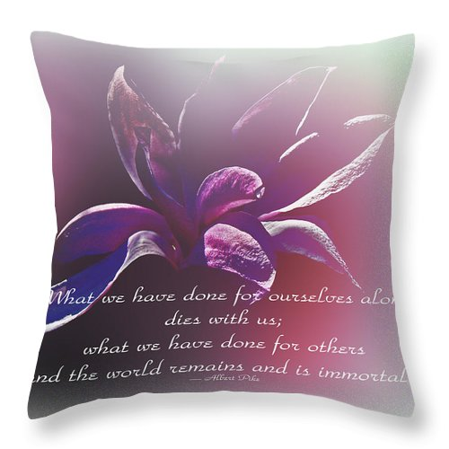 Tulip Throw Pillow featuring the photograph Tulip Magnolia And Albert Pike Quotation by Mother Nature