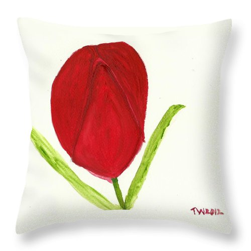 Tulip Of The Heart Throw Pillow featuring the painting Tulip Of The Heart by Tracey Williams