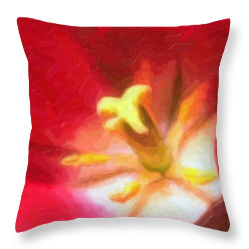 Flower Throw Pillow featuring the painting Tulip by Sergey Bezhinets