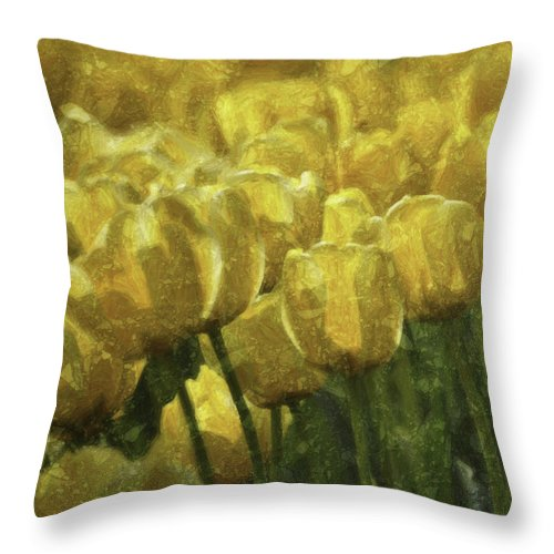 Flower Throw Pillow featuring the photograph Tulips All Over by Trish Tritz