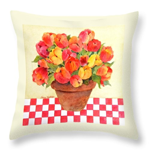 Tulips Throw Pillow featuring the painting Tulips And Checks by Sherri Crabtree