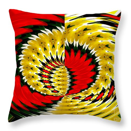 Daffodils Throw Pillow featuring the photograph Tulips And Daffodils Polar Coordinates Effect by Rose Santuci-Sofranko