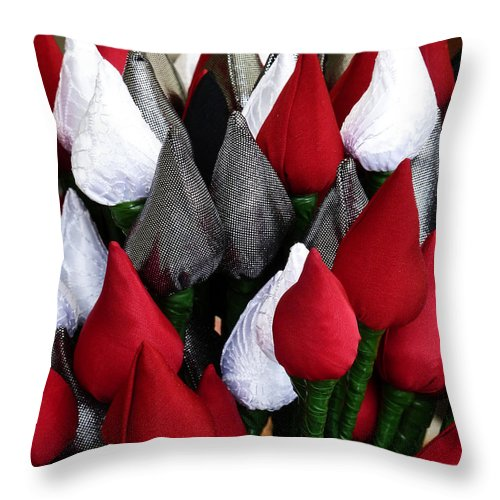 Silk Throw Pillow featuring the photograph Tulips For Sale by Steve Taylor