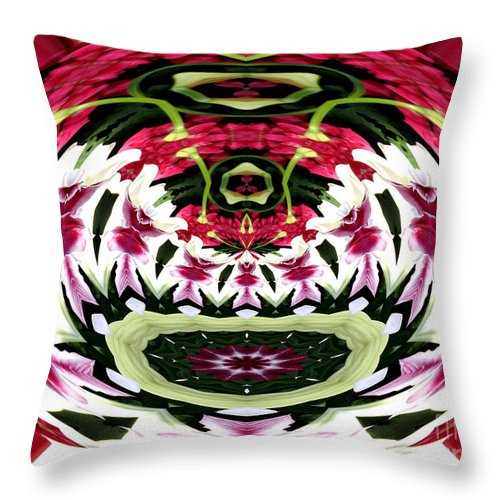 Tulips Throw Pillow featuring the photograph Tulips Hydrangeas Easter Lilies Polar Coordinate Effect by Rose Santuci-Sofranko